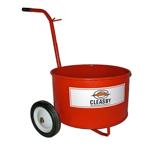 "20 Gallon Mop Carts: Round Bucket With 7"" steel wheels."