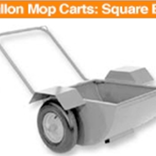 30 Gallon Mop Carts: Square Bucket & Fenders With 10 X 3 tires.