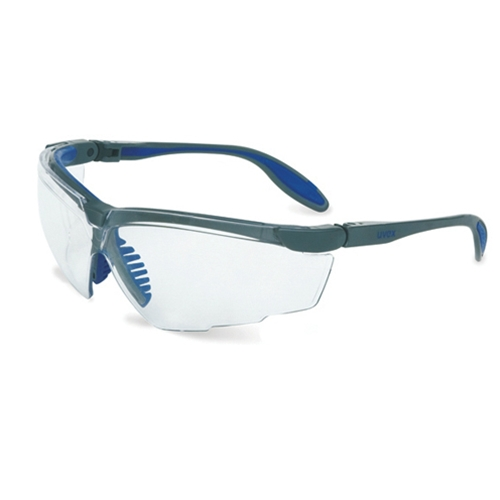 Uvex Genesis X2 Silver & Navy Frame Clear Lens, Ultra-dura Anti-scratch Coating