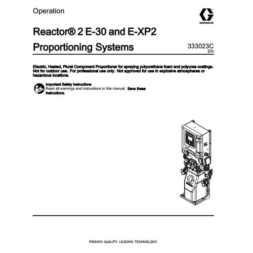 Graco Reactor 2 E-XP2 Operation Manual