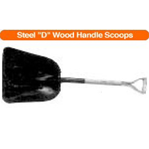 "#10 Steel ""D"" Wood Handle Scoops"