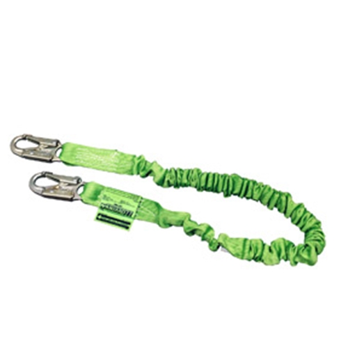 "ANSI Z359.13 Compliant 6' Stretchable web lanyard w/ choke off loop, 2 1/2"" rebard hook & an ""O"" Ring extension."