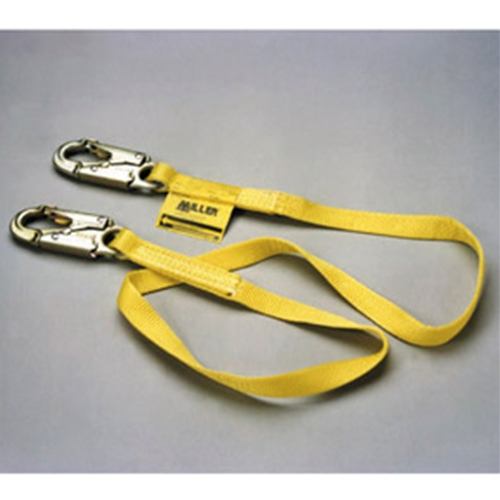 "ANSI Z359-2007 Compliant Two-legged 6' web lanyard w/1 locking snap hook & 2 locking rebar hooks (2-1/2"")"