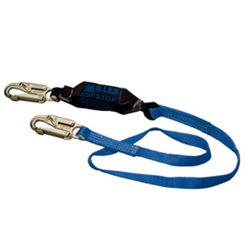"Two-legged, Adjustable 4' web lanyard, w/1 locking snap hook and 2 rebar hooks (2-1/2"") with ""O"" ring extension"